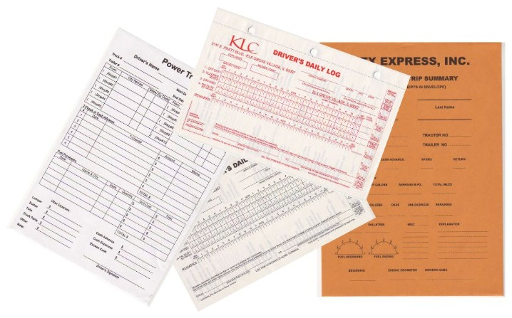 Forms for trucking industry. Either carbonless log books, or envelopes ...